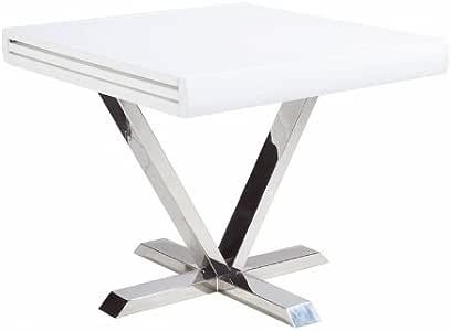 Mesa cuadrada extensible NOVO lacado, madera/metal, blanco ...
