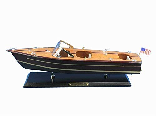 Hampton Nautical Wooden Chris Craft Triple Cockpit Model Speedboat 20''