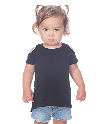 Blk Neck - Kavio Baby Girl's Slub Jersey Scoop Neck High-Low Short Sleeves, Blk, 18 M