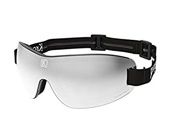 Ultra Clear Goggles for Skydiving, Motorcycling, Scooters, Bicycling – Protection from wind, dust, dirt – Grey Tinted Mirror Lens with black adjustable, non-slip headband made by Kroops in the USA.
