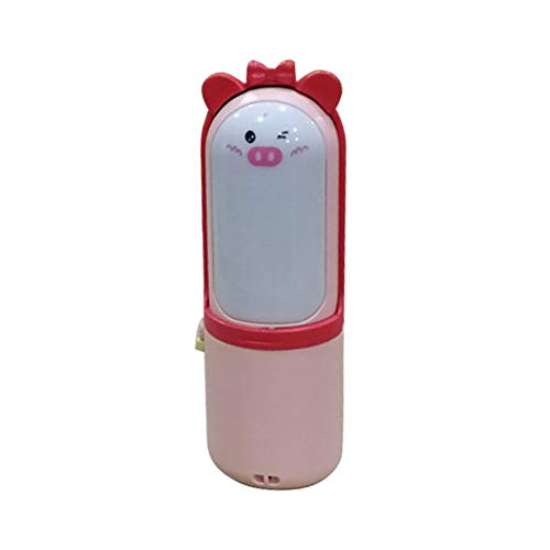 Cooling Fan, Cute Pig Portable USB Charging Mini Cooling Fan with LED Night Light Red ()