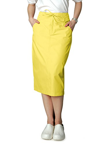 Adar Universal Mid-Calf Length Drawstring Scrub Skirt - 707 - Banana - 8