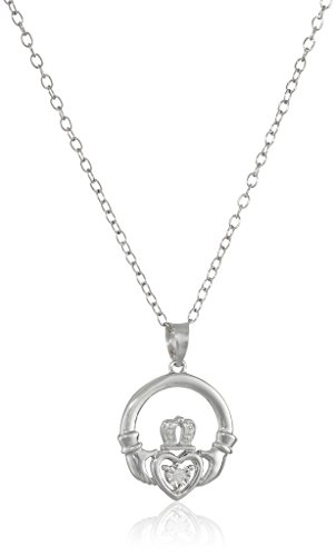 Sterling Silver Diamond-Accent Claddagh Pendant Necklace, 18