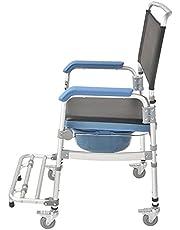 Gammal man sitter i en stol toalettstol mobil hem med hjul sitsstol sitsstol sitter toalett badstolar dusch rullstol-631L barn