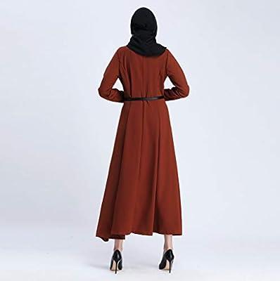 Muslim Women Kimono Islamic Pure Color Button Plus Size Middle East Long Dress Summer