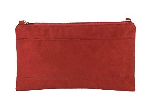 Divina Ante Sintético de Embrague/hombro/bolsa de crossbody/correa de muñeca tamaño grande Brick Rust Red