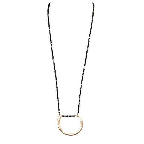 Me Plus Women Fashion Long Beaded Necklace Geometric Hammered Open Ring Pendant ()