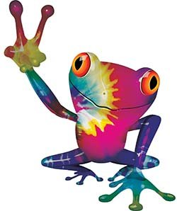REFLECTIVE Cool Peace Frog Decal with Tie Dye Colors