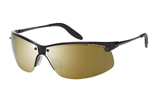 Eagle Eyes PRO MASTER PANO-VU - Sports-Wrap Polarized Sunglasses for Men, Gold Flash Mirror - Nasa Sunglasses Eagle Eye
