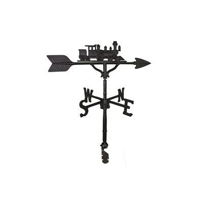 Montague Metal Products 32-Inch Weathervane with Satin Black Train Ornament (Train Lawn Ornament)