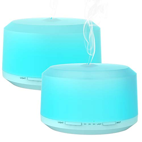 2 Pack 450ML Aromatherapy Diffusers for Essential Oils, Zookki Ultrasonic Essential Oil Diffuser with 8 Colors LED Lights, 4 Timer Settings and Waterless Auto Shut-off for Large Room ()