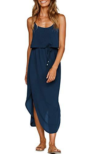 (ZJCT Womens Dresses Adjustable Strappy Sleeveless Side Split Casual Summer Beach Midi Dress with Pockets DarkBlue S)