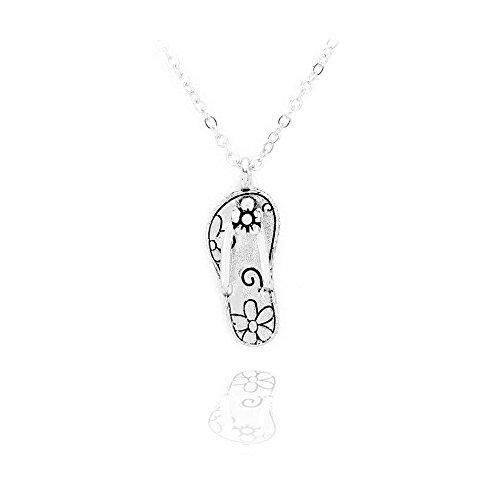 Antiqued Sandy - Silver Flowered Flip-flop Necklace [Island Style]