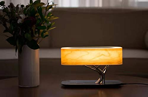 Tree of Light - Bedside Table Lamp with Built-in Bluetooth Speaker and Wireless Charger for Bedroom, Office, Living Room, Stepless Dimming Desk Lamp with Sleep Mode - Elegant Bedside Lamp with Modern Technology - 3 in 1 Stunning Lamp with Built-in Bluetooth Speaker and Wireless Charger for Bedroom, Office, Living Room. Unique and Stunning Design - Built-In powerful Bluetooth speaker delivering Omni-Directional sound featuring preeminent performance from our dual wave-guide technology. LED Dimming Light with Touch Control - Switch the Light ON /OFF with a light touch. Press and hold the touch area for 3 seconds for Sleep Mode and light will turn off within 30 mins. - lamps, bedroom-decor, bedroom - 31CTvbXHw3L -