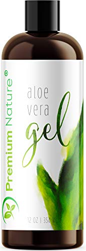 Premium Nature,100 Organic Aloe Vera Gel for Face Body Hair 12 oz Soothes Rejuvenates Sun Burns Eczema, Insect Bites, Psoriasis, Rashes, Razor Bumps, Dry Skin