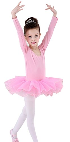 Little Girls Dancing Leotard Dresses Long-sleeve Stretchy Ballet Gymnastics Ice Skating Bodysuit Breathable Lightweight Pink XS