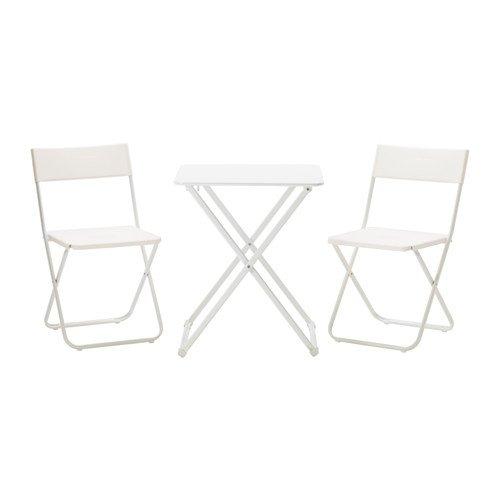 HARO ヘーロー/FEJAN フェヤン テーブル&チェア2脚 屋外用, 折りたたみ式, ホワイト 691.197.18 B07DYSKM63
