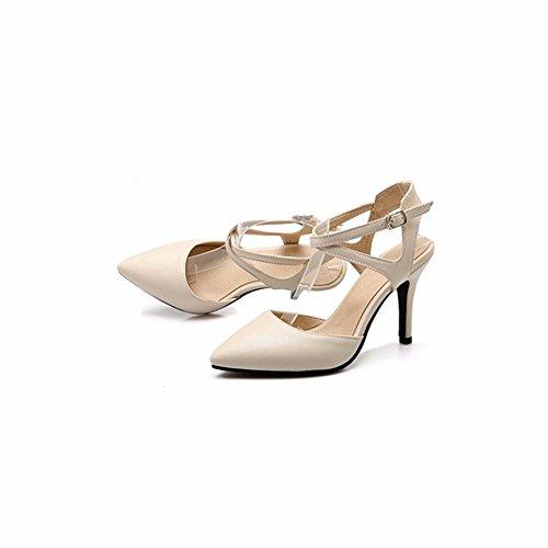 RFF-Women's Shoes Zapatos de Tacón/Zapatos de Mujer, Verano Señalaron los Talones, Tamaño Mujer Sandalias Beige