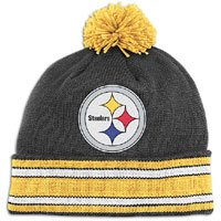 NFL Mitchell & Ness Pittsburgh Steelers Black-Gold Throwback Jersey Striped Cuffed Knit Beanie