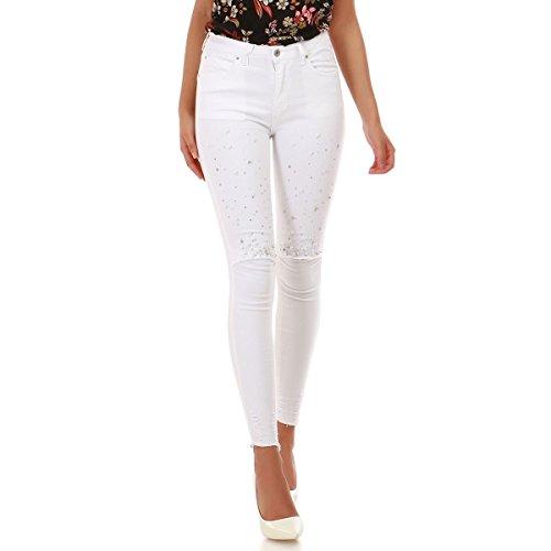 La Modeuse - Jeans Slim Femme  Strass et Perles Modle Destroy aux Genoux et sur la Poche arrire avec Finitions effiloches aux Chevilles Blanc