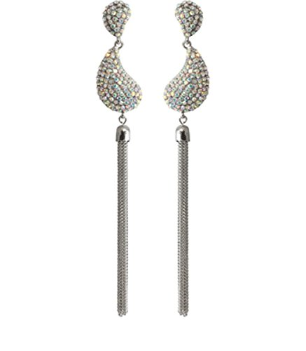 Azzaria...Swarovski AB Crystal Chained Chandelier Drop Earrings...Rhodium Plated...Drop: 13.5cm