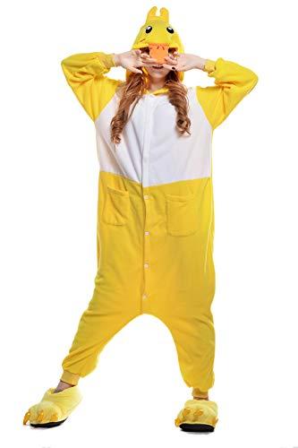 Cokle Adult Cartoon Pajamas One Piece Sleepsuit Hooded Lounge Sleepwear Animal Costumes Duck L