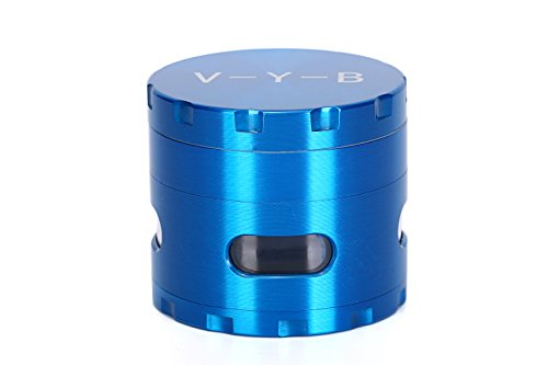 Marijuana Bling Watch (Large Spice Tobacco Herb Weed Grinder - Four Piece with Pollen Catcher - 2.5 Inches - Premium Grade Aluminum(BLUE))