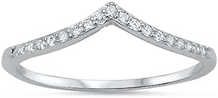 New V-Shape Chevron Cubic Zirconia Band .925 Sterling Silver Ring Sizes 3-12