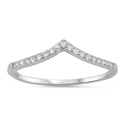 New V-Shape Cubic Zirconia Band .925 Sterling Silver Ring Sizes 7 by Oxford Diamond Co