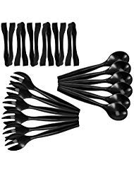 "Set of 18 - Heavy Duty Disposable Plastic Serving Utensils, Six 10"" Spoons and Forks, Six 6-1/2"" Tongs, Black"