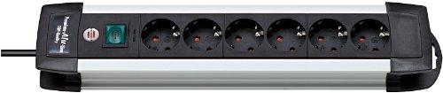 Brennenstuhl Premium-Alu-Line Steckdosenleiste 6-fach schwarz mit Schalter, 1391000016