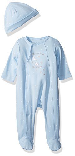 Little Me Baby Boys Footie and Hat, Blue, Newborn (Preemie Pajamas)
