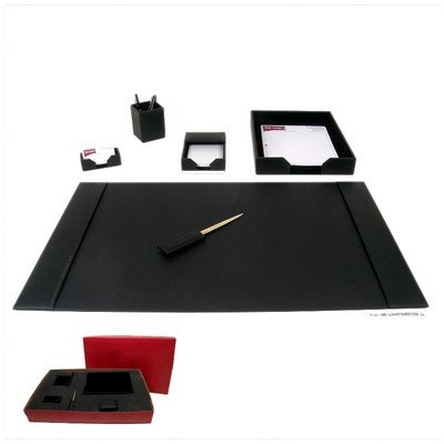 1400 Series Econo-Line Leather Six-Piece Desk Set in Black by Dacasso