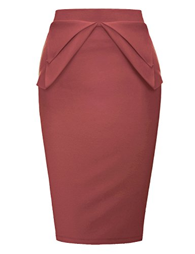 - Regna X Love Coated Women's Elastic Waist Band Bodycon Skirt Coral Large