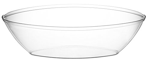Embellish Oval Plastic Serving Bowls 64 ounce Contured Party, Salad, Snack, Disposable Crystal Clear Oval Bowl Pack of 2