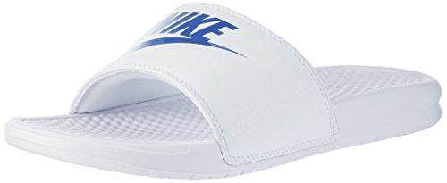 NIKE Men's Benassi Just Do It Athletic Sandal, White/Varsity Royal, 8 Regular US