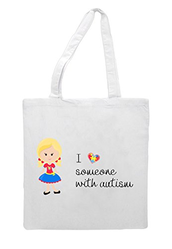 Love Autism Bag Someone G6 Tote Blonde Character With Pigtails Awareness White I Girl tUw1qdU