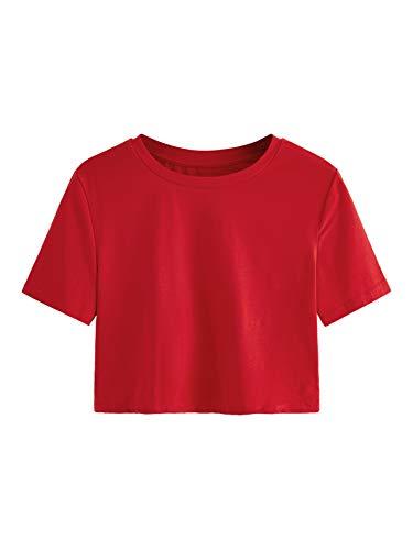 - SweatyRocks Women's Short Sleeve Crew Neck Solid Basic Crop T-Shirt 1-Red S