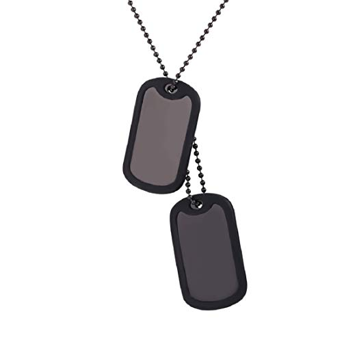 U7 Medical Alert ID Dog Tag Pendant with Black Gun Chain 23
