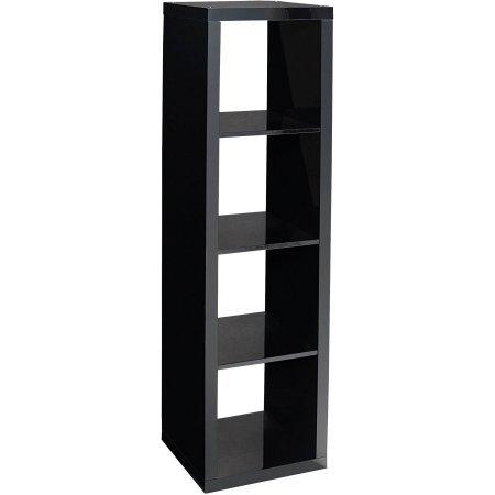 Horizontal Vertical Multiple Storage 4 Cube Organizer In Black Lacquer Home Garden