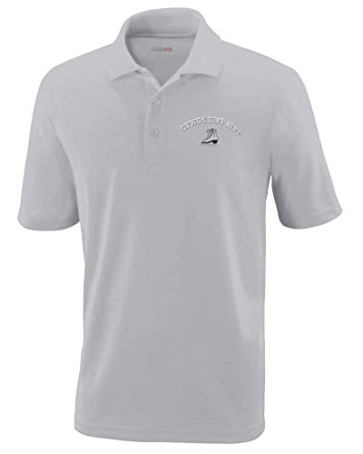 (Custom Text Embroidered Ice Skate Mens Adult Button-End Spread Short Sleeve Polyester Proformance Polo Shirt Golf Shirt - Platinum, 4X Large)