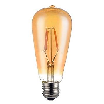 4W E26/E27 Bombillas de Filamento LED ST64 4 SMD 5730 350 lm Blanco Cálido Decorativa V 1 pieza (Voltaje : 85-265V , Potencia : Transparent) : Amazon.es: ...