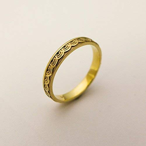 f92b3b820a54a Amazon.com: Thin Wedding Band Handmade of 14K /18K Solid Yellow ...
