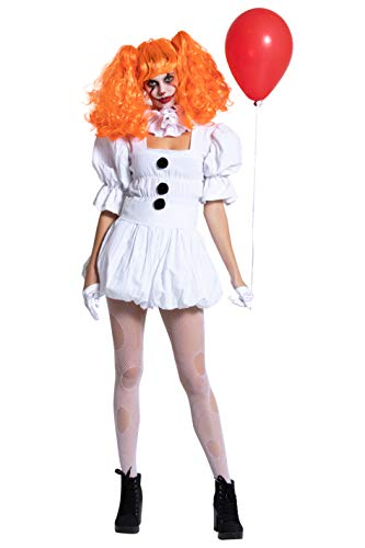 Yandy Women Sexy Scary Dancing Sewer Clown Cosplay Halloween Costume Medium White]()