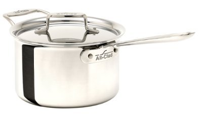 All-Clad BD55204 D5 Brushed 18/10 Stainless Steel 5-Ply Bonded Dishwasher Safe Sauce Pan with Lid Cookware, 4-Quart, (All Clad Stainless 4 Quart Sauce Pan)