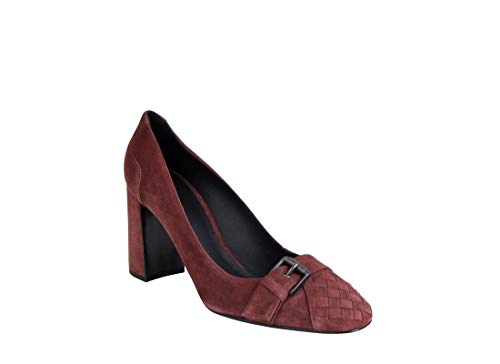 Bottega Veneta Women's Dark Rose Suede Leather Chunky Heels 428928 2240 (39.5 IT / 9.5 US)