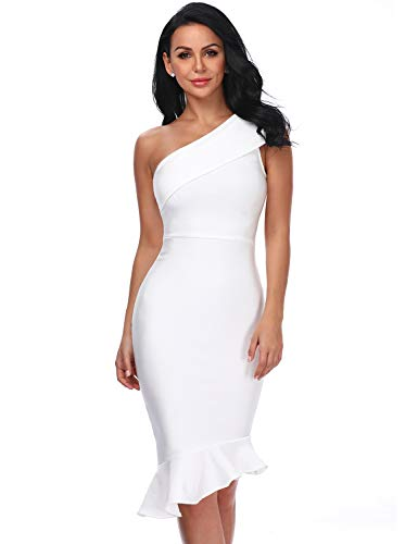 Hego Women's One Shoulder Ruffle Mermaid Bandage Club Night Out Party Dress H5284 (White, L)