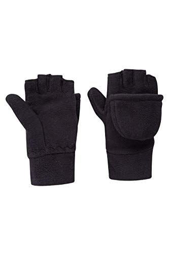 Kids Mitten Fleece - Mountain Warehouse Fingerless Fleece Kids Mitten - Warm Winter Gloves Black Small/Medium