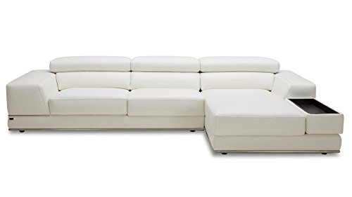 Zuri Furniture Encore White Leather Sofa - Right Chaise