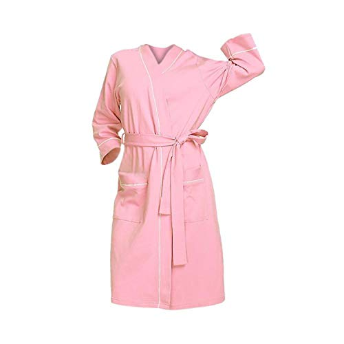 Dressing Gowns for Women Summer Solid Color Cotton Nightgown Lingerie Bathrobe with Belt Nightshirt,Pink,4XL